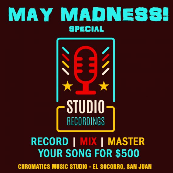 For the month of May take advantage of our Special sale! Walk with your instrumental and get your song recorded, mixed & mastered for only $500. Contact 684-3676 or email studio@chromaticsmusic.com for more info.